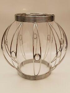 Art Nouveau Style Ceiling Light Shade Glass & Silver Chrome