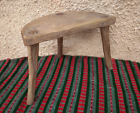 Vintage Antique Primitive Old Hand Carved Wooden Chair Tripod, Rustic wooden sto