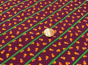 """Tossed Candy Corn on Green Striped Purple*Free Spirit*100% Cotton Remnant 21""""x8"""""""