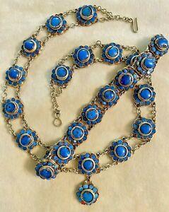 Antique TRIBAL PERSIAN Necklace Bracelet Set w/ Blue Lapis or Sodalite Stones