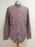 """E370 MENS TOMMY HILFIGER BLUE RED WHITE CHECK 80's 2PLY L/SLEEVE SHIRT M 40"""""""