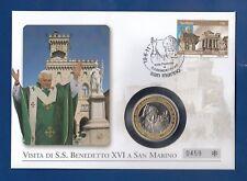 Papa Benedetto XVI a San Marino ** NUMISBRIEF VATICANO CON MEDAGLIA **