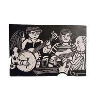 Folk music - Original Linocut print - His Maister's voice