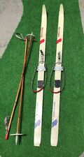 Normark JARVINEN Finland Cross Country Skis And Bamboo Poles Vtg