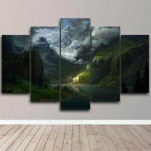 Mountain Lake Landscape Clouds 5 Piece Canvas Wall Art Print Home Decor