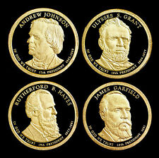 2011 S Presidential Proof Set ~ Johnson, Hayes, Garfield and Grant Mint Dollars