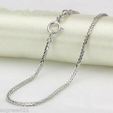 Authentic  18K Solid White Gold Necklace/ Wheat Shiny Link Chain Necklace/ 2.6g