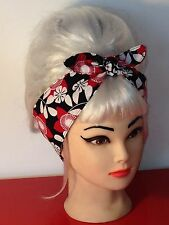 Black White Red Floral Bow Head Scarf Wrap Headband Rockabilly Pinup Vintage