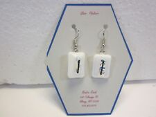 Fused glass earrings: white with clear textured dichroic and black thread