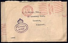 UK GB 1951 OFFICIAL FEE PAID ROYAL MINT COVER