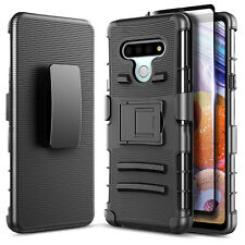 For LG K51 / LG Reflect Case Belt Clip Phone Cover + Tempered Glass Protector