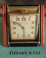 A stunning Rare ART DE'CO 1920s Red & Black 8 days Travel Clock by Tiffany & Co.
