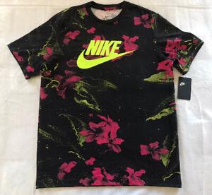 Nike Futura Floral Pink Limeade Black T-Shirt (CK0160 010) Men's Size L