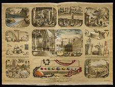 Rare 1853ca - La pierre (Géologie) - Planche encyclopédique, scolaire, affiche