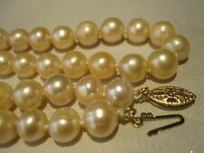 BEAUTIFUL VTG 14K GOLD GENUINE CULTURED PINK PEARL HAND KNOTTED NECKLACE ESTATE