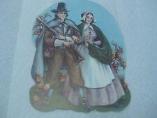 """Vintage Thanksgiving Pilgrim Couple Decoration, 12,5"""" X 9.5"""", 1940's-1950's"""