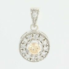 Yellow CZ Halo Pendant - Sterling Silver Clear Accents Women's Round 0.40ctw