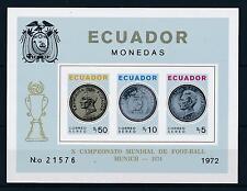 [60829] Ecuador 1974 Coin Overprint World Cup Soccer Football Imperf. MNH Sheet