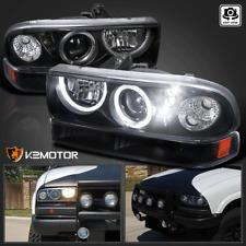 Black 98-04 Chevy S10 Blazer Halo SMD LED Projector Headlights+Bumper Park Lamps