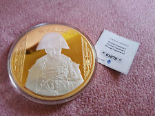 Medaille Portrait Napoleon 1er 100 mm 2016 Bonaparte Münze Kupfer Vergoldet