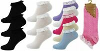 2 pairs Ladies/Girls Lace Trim Top or Plain Cotton Trainer/Anklet Socks