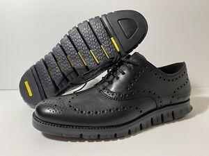 Cole Haan ZeroGrand Wingtip C20719 Men's Size 8 Oxford Black Leather Shoes