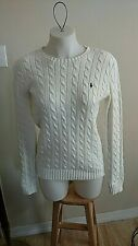 Ralph Lauren Sport Womens Cable Knit Cotton V-neck Sweater Size Medium White