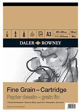 DALER ROWNEY A3 grain fin Cartouche Pad 160gsm Artist Sketch croquis papier