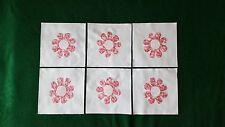 Set of 6 Pink Flowers Appliqué Quilt Top Blocks~4201