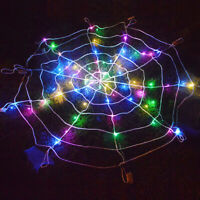 LED Halloween Spider Web Outdoor Horror Party Props Light Up Cobweb Spooky Decor