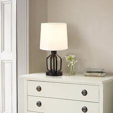 [lux.pro] Lampe de Table Salon Bureau E14 Métal et Textile Blanc et Noir