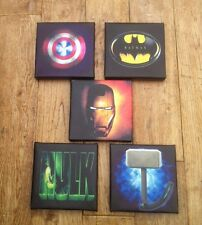 3rd Set Of These 5 x Super Hero Logo  Canvas Pictures