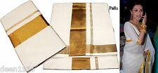 100% Cotton Indian Ethnic Sacred Kerala Kasavu Saree Sari Cream & Gold SS-9257