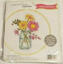 Dimensions CROSS STITCH KIT Flower Mason Jar 72-75344