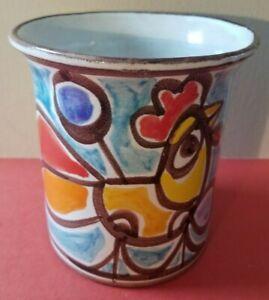 "Desimone Art Pottery 5 1/2"" Vase Planter Rooster Chicken Tulip Flower Italy"