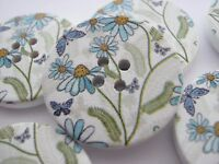 "4 Wild Flower Buttons 30mm (1 1/8"") Large White Blue Floral Wood Focal Buttons"