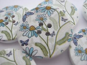 """4 Wild Flower Buttons 30mm (1 1/8"""") Large White Blue Floral Wood Focal Buttons"""