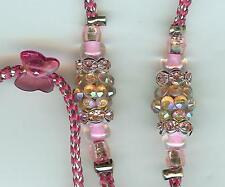NEW! CUSTOM MADE BEADED SHOW LEAD LEASH-SLIP - TOY DOG-PINK/SILVER