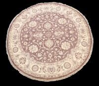 Floral Vegetable Dye Oushak-Chobi Oriental Area Rug Wool Round Hand-knotted 8x8