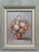 Vintage Signed Robert Cox Original Painting Oil on Canvas Pastel Flowers Framed