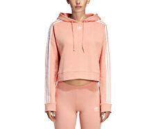 Adidas Originales Para Mujer Sudadera con Capucha Adicolor Rosa Recortada Top Sudadera Con Capucha UK16