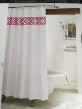 New Boho Shower Curtain Bohemian Fabric Pink Tribal Enbroidered Bathroom Decor