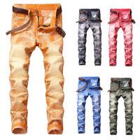 Men's Slim Fit Denim Pants Comfy Casual Long Straight Trousers Skinny Jeans Hot