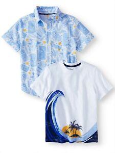NEW Wonder Nation Short Sleeve, 2-piece Boys Shirts ARCTIC WHITE or BLUE COVE