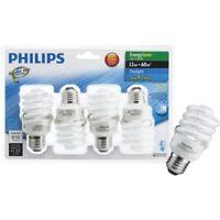 Philips Energy Saver 60W Daylight Medium Base T2 Spiral CFL Light Bulb (4-Pack)