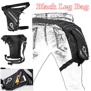 Rider Motorcycle Drop Leg Bag Black Polyester Travel Outdoor Sports Waist Pack