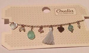 ORELIA CHARM BRACELET ~RRP £18~ MINT GREEN DAYDREAMER GOLD TONE JEWELLERY ~7402~