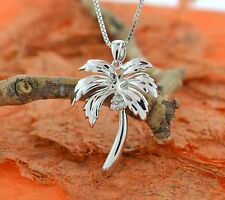 "Palm Tree Pendant w/18""Chain-Sterling Silver-Tropical,Beach,Palm Tree Charm,CZ's"