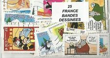 "Lot 25 timbres thematique "" Bandes Dessinées Francaises"""
