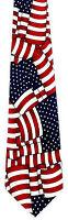 Men's USA Flag Neck Tie Patriotic Stars & Stripes Holiday Blue Red Necktie